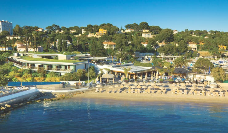 Le Cap d'Antibes Beach Hotel Cote d'Azur beach aerial view sun loungers and umbrellas