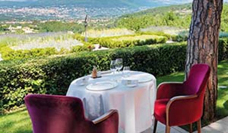 Le Mas Candille Cote d'Azur terrace dining overlooking countryside