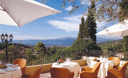 Le Mas Candille Cote d'Azur terrace view dining area with countryside views