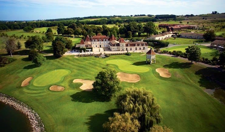 Chateau des Vigiers Dordogne golf course aerial view