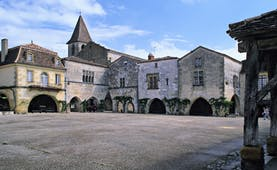 Village square of the medieval town of Monpazier in the Dordogne