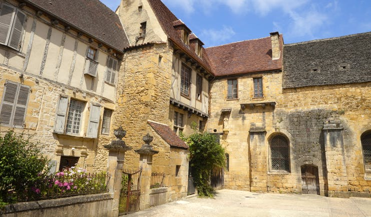 Yellow stone and half timbered houses in Sarlat in the Dordogne