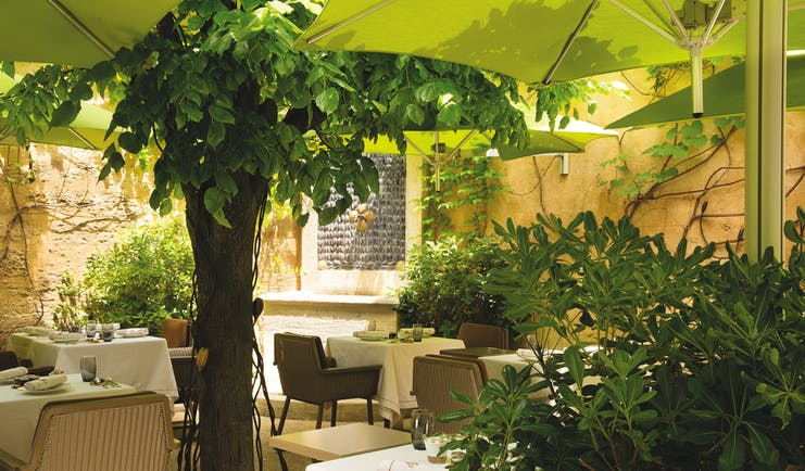 Maison d'Uzes Languedoc Roussillon patio terrace dining courtyard patio with trees and umbrellas