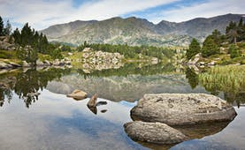 Mountain lake with pine trees and rocks at Carlit Peak in French Catalonia