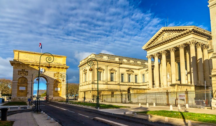 Triumphal arch and classical style courthouse in Montpellier