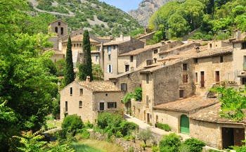 Stone houses in the typical village of St Guilhem le Desert