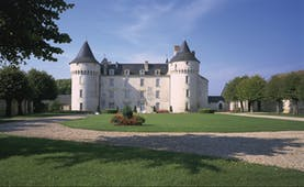 Chateau de Marcay Loire Valley exterior garden large white chateau looking over a lawn