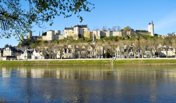 View of Chinon castle over the River Vienne