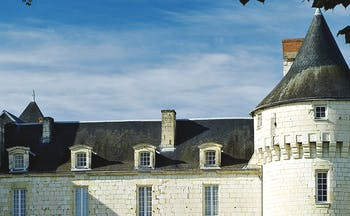Grey roof with turrets on either side with white brick chateau