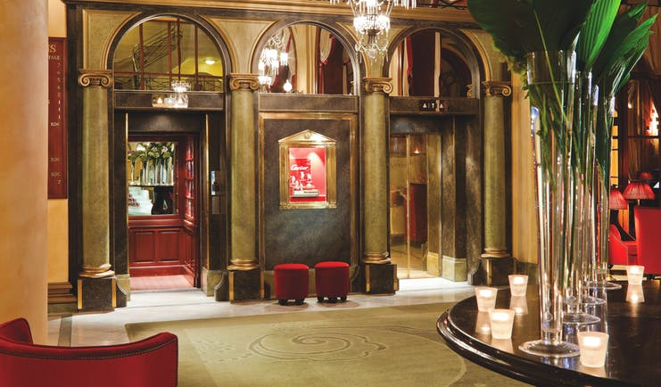 Hotel Royal Barriere lobby, grand decor, old fashioned lifts, chandelier, columns,