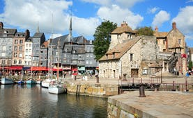 Harbour with boats and old houses Honfleur in Normandy