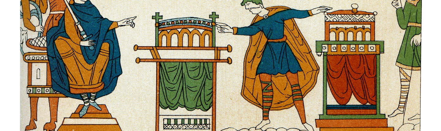 Scene frm the Bayeux tapestry showing Harold's oath of fealty to William