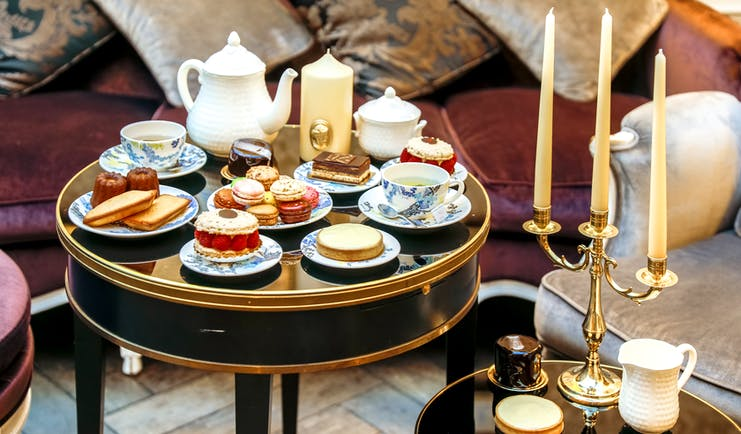 Hotel de Buci afternoon tea, cakes, tea, pastries, elegant decor