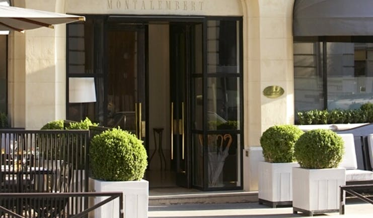 Hotel Montalembert Paris entrance Haussmannian style building with balconies