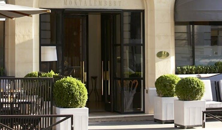 Hotel Montalembert Paris entrance Haussmannian style building with balconies