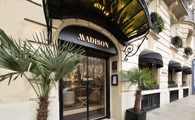 Grand door with awning and palm tree plants outside on pavement at the Madison Hotel Paris