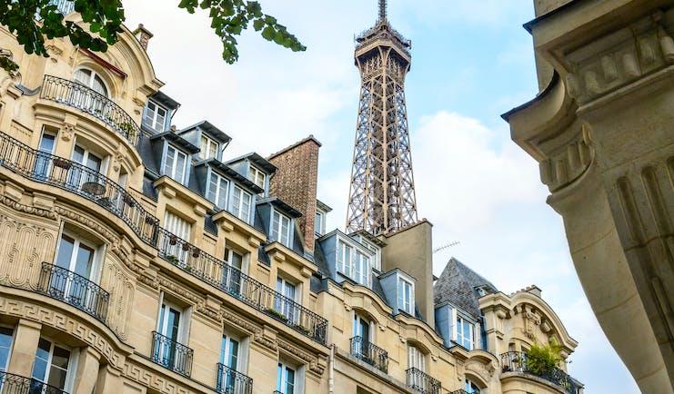 Typical parisian buildings with eiffel tower Paris