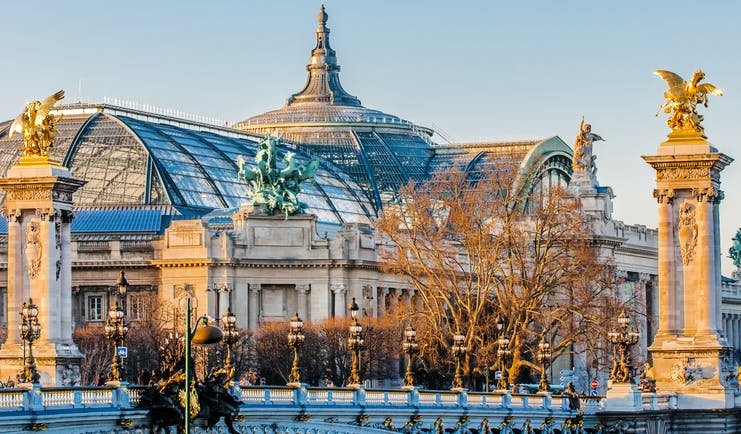 Grand palais Paris with flag on roof and bridge with columns Paris