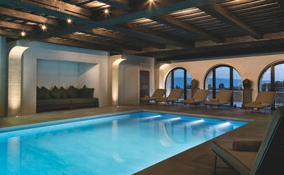 La Bastide de Gordes Provence spa swimming pool sun loungers and large windows
