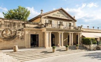 Hotel Jules Cesar Provence exterior roman style building relief of Julius Caesar