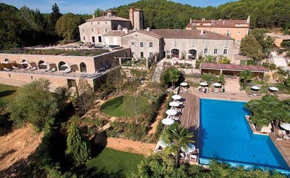 Chateau de Berne Provence outdoor swimming pool aerial view gardens