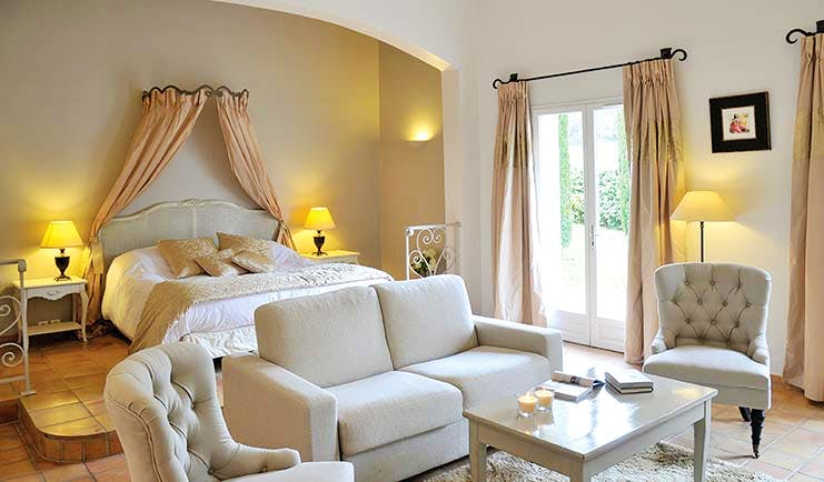 Chateau de Berne Provence white bedroom sofa and two armchairs