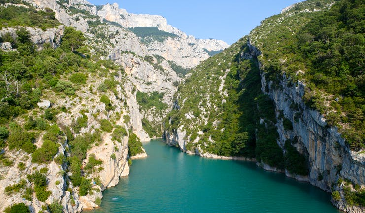 View of the water and cliffs of the Gorges du Verdon in Provence