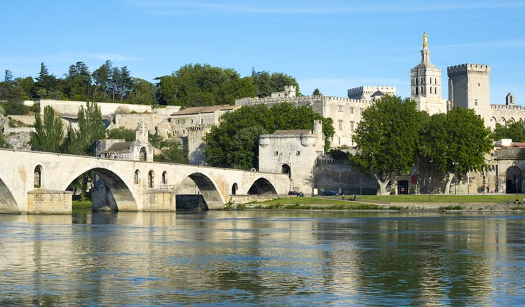 View of the river Rhone and the Pont d'Avignon in Provence