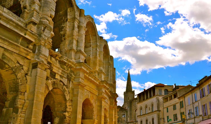 Buildings in Arles next to the ancient Roman amphitheatre