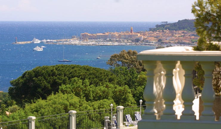 Althoff Villa Belrose Saint Tropez sea view aerial trees sea and town