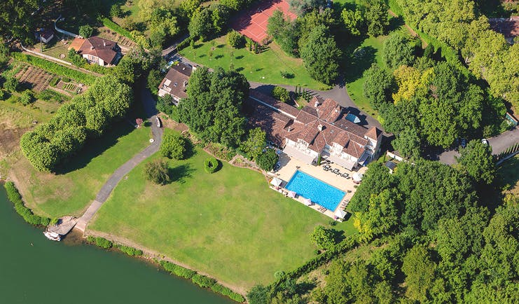 La Reserve Tarn and Lot aerial pool view and lawn next to a river