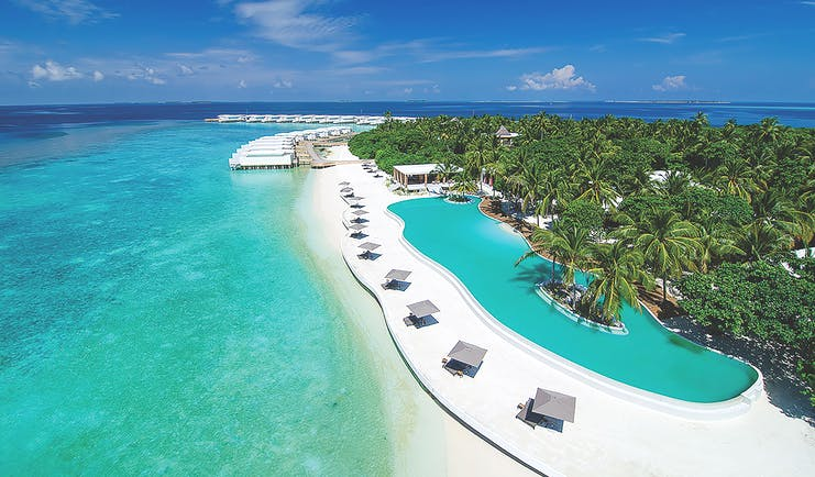 Amilla Fushi aerial shot of pool, pool terrace, sun loungers, close to sea, tropical greenery in background