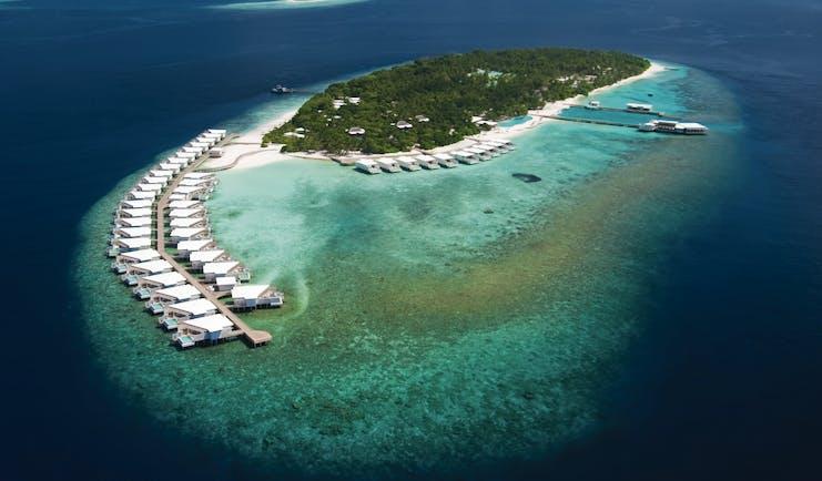 Amilla Fushi aerial shot of island resort