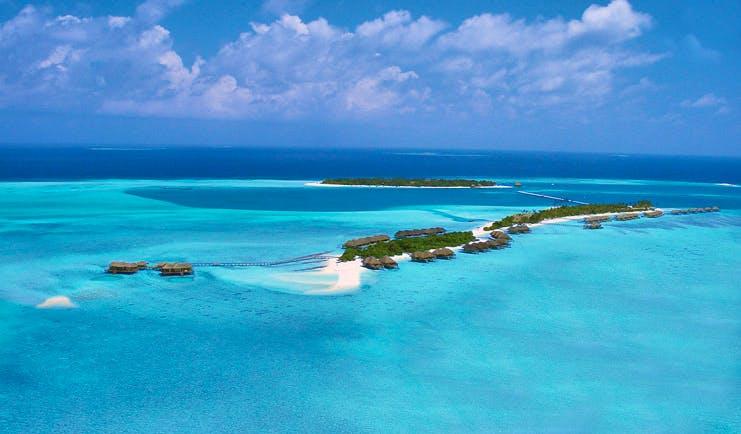 Conrad Maldives aerial shot of islands villas beaches sea