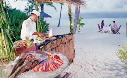 Conrad Maldives private barbeque seafood couples romantic dinner