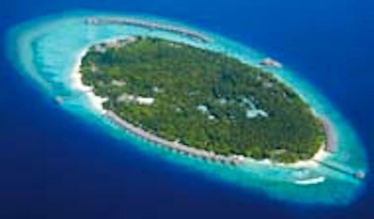 Dusit Thani Maldives aerial shot of island