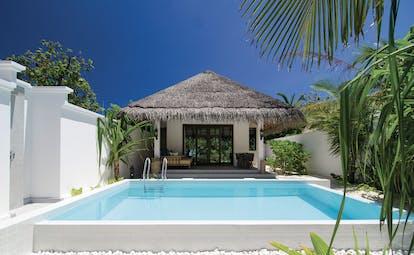 Finolhu beach villa exterior, private pool, terrace, enclosed by walls