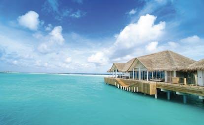Finolhu dive centre exterior, hut building over the sea