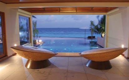 Huvafen Fushi Maldives beach pavilion patio indoor private seating