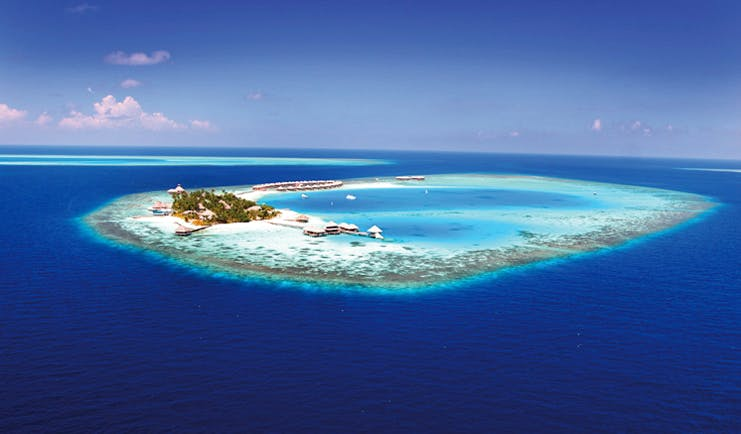 Huvafen Fushi Maldives island aerial shot