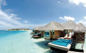 Huvafen Fushi Maldives lagoon bungalow exterior private pool terrace sea
