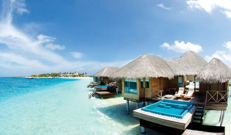 Huvafen Fushi Maldives lagoon bungalow exterior private pool terrace sea