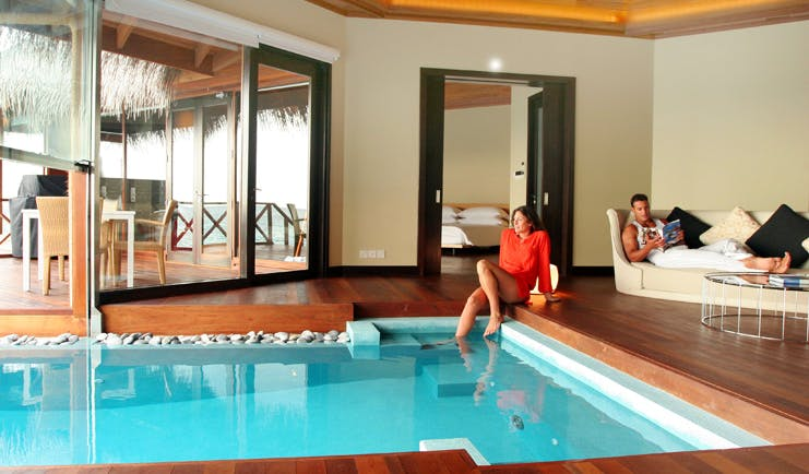 Huvafen Fushi Maldives ocean pavilion pool private pool half in villa