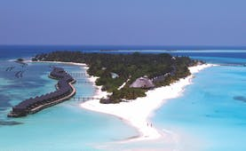 Kuredu Maldives aerial shot of island ocean beach villas