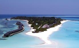 Kuredu Maldives aerial shot of island ocean beach villas