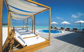 Lily Beach Maldives pool deck terrace plunge pool sun beds overlooking sea