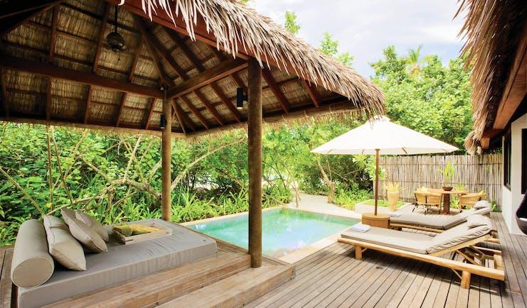 Maalifushi garden suite pool, terrace sun loungers cabana