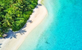 Aerial shot of Maldives beach, turquoise sea, white sand
