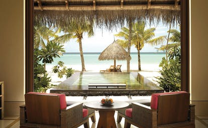 One Only Reethi Rah Maldives beach villa pool armchairs private plunge pool beach