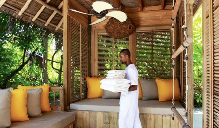 Six Senses Laamu Maldives beach white sandy beach clear blue ocean